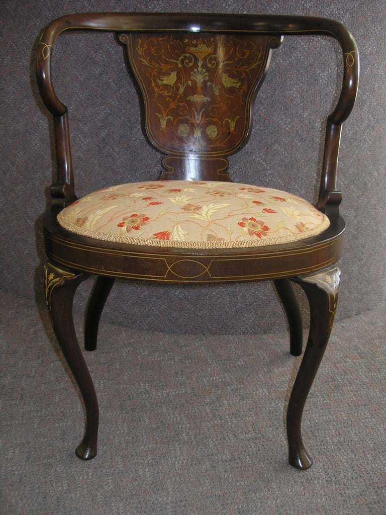 Victorian inlaid mahogany chair