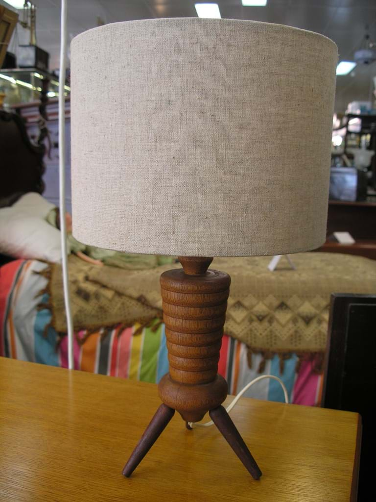 1950s turned timber table lamp