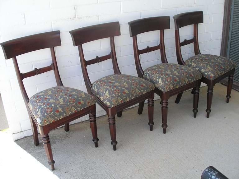 Set of four Australian colonial cedar dining chairs. Australian Antique Furniture   Canberra Antiques Centre   Australia