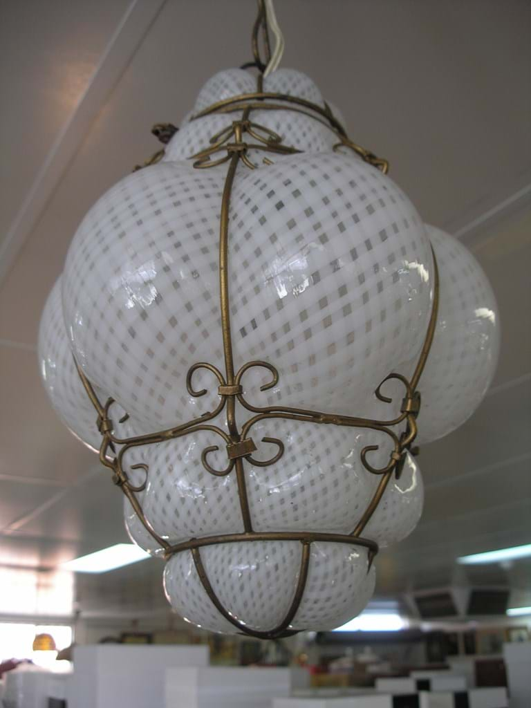 Seguso Murano filigrana glass suspension light fixture