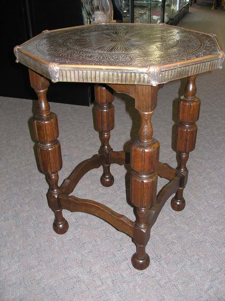 c1920 oak brass occasional table