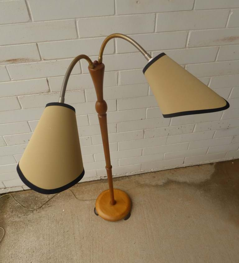 1960s timber twin shade floor lamp