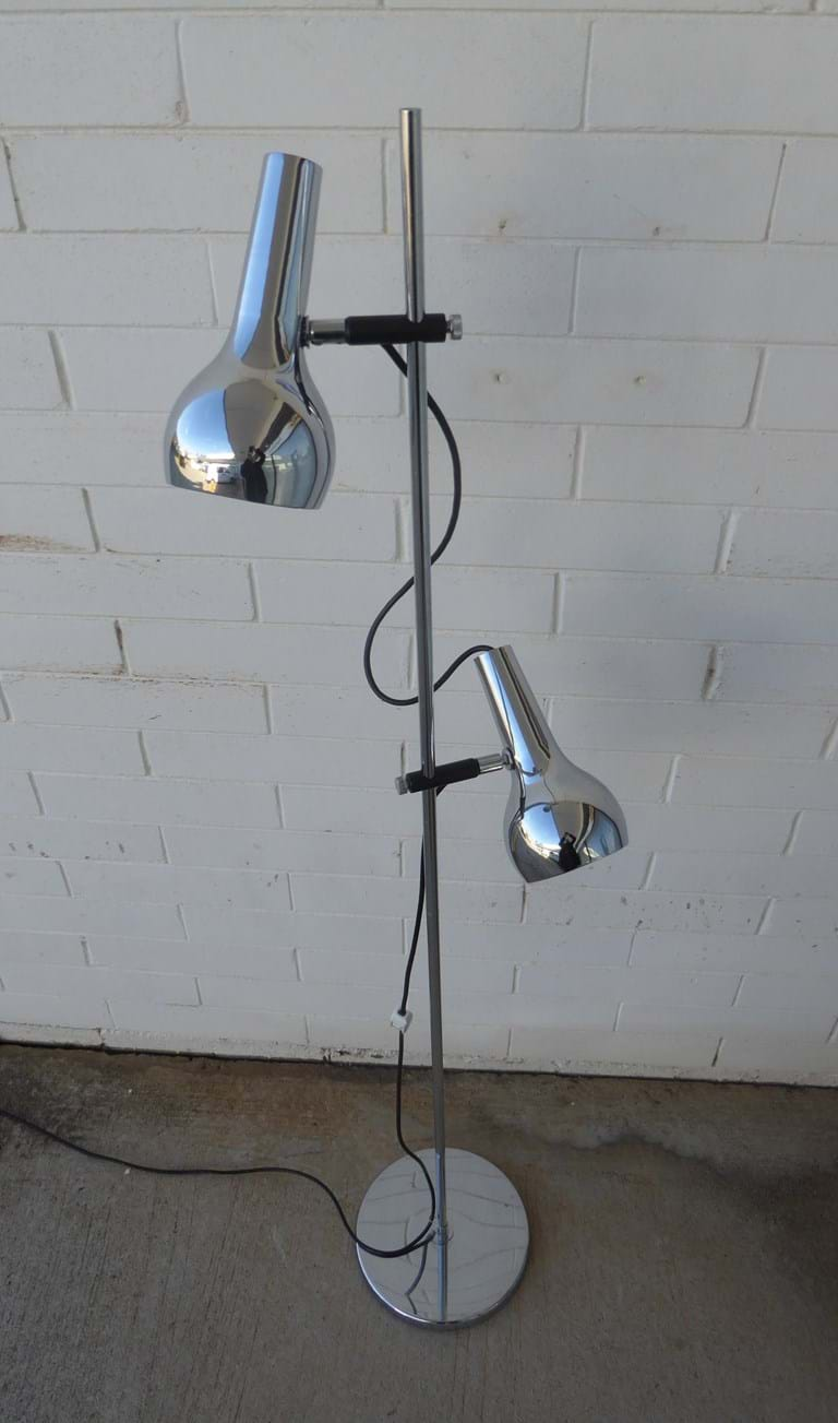 1970s variant chrome twin shade floor lamp by Oslo