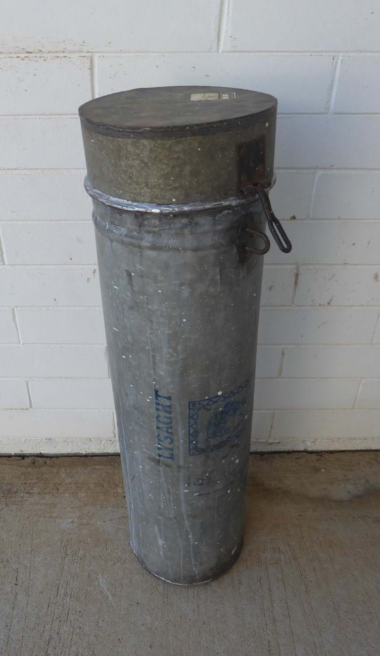 1950s galvanised iron canister Ex Department of National Development