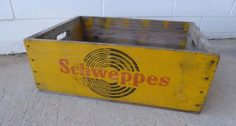 1960s  Schweppes timber drinks crate