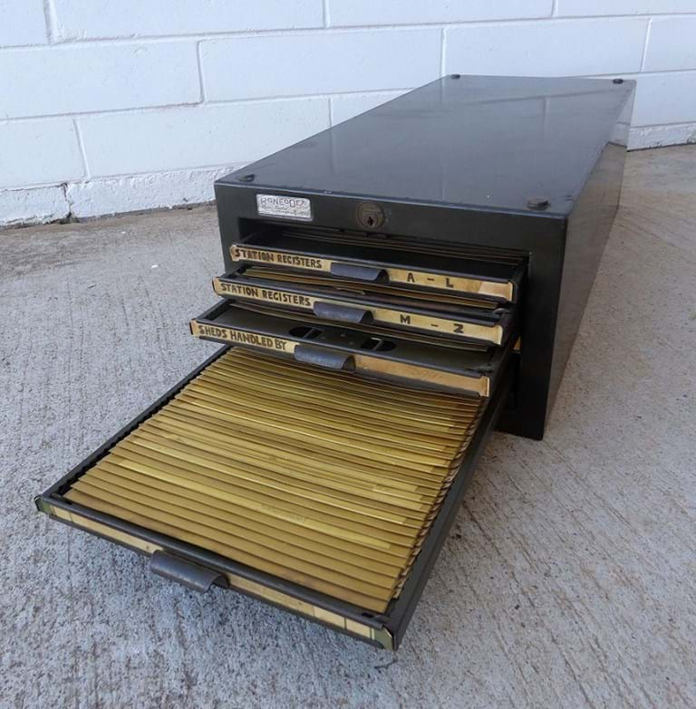 "c1940s five drawer ""Roneodex"" horizontal card file unit by Roneo"