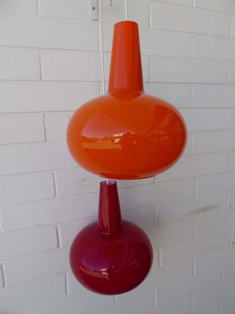 1970s model K220 Kempthorne cased glass pendant light fittings