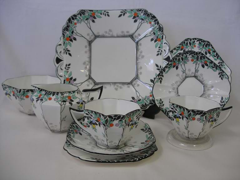 "Shelley ""Black Trees"" art deco plate, milk sugar, cup saucer plate"