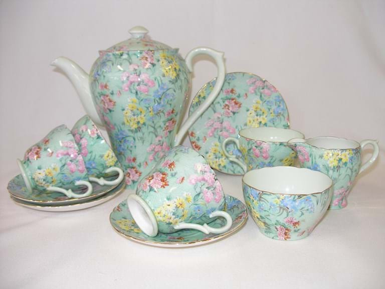 "Shelley ""Melody"" chintz coffee pot cups saucers"