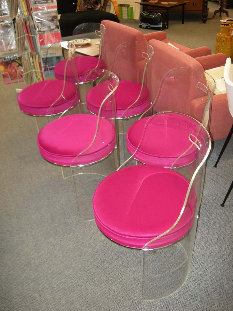 Set of six 1970s perspex chairs